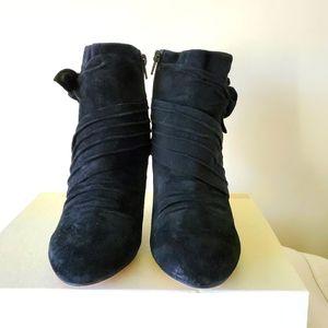 Aldo black tie suede booties